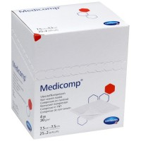 Medicomp gaaskompres nonwoven steriel 4-laags 7,5x7,5cm