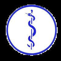 Aesculaapteken verloskundige statisch blauw