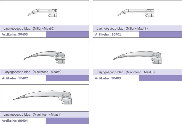 De Miller/Macintosh laryngoscoop bladen zijn er in vijf verschillende maten